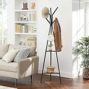 Vintage Metal Coat Stand 180cm Clothes Tree With 2 Shelf Home Office Organiser