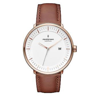Nordgreen Unisex Philosopher Leather Rose Gold 36mm Watch PH36RGLEBRXX