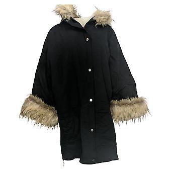 Peace Love World Women's Oversized Sherpa Lined Coat Black A371759