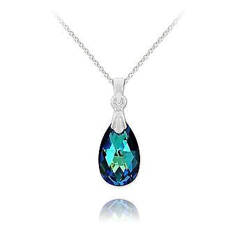 Vintage silver bermuda blue necklace with swarovski crystal