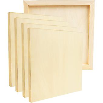 Belle Vous Unfinished Wooden Canvas Painting Boards (5 Pack) - 25 x 25cm / 10 x 10 Inches