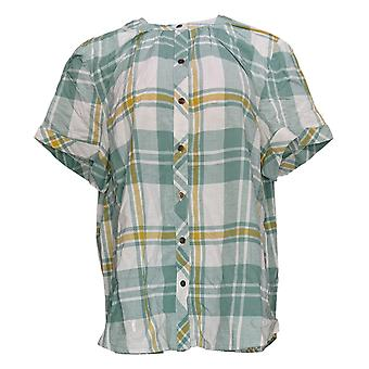 Denim & Co. Women's Top Plaid Button-Front met Shirred Details Green A380921