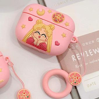 Hauska söpö 3D-sarjakuvakotelo AirPods-ammattilaisille Sailor Moon-Beautiful girl + hanging ring