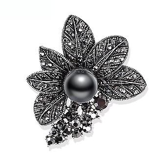 Retro Ladies Brooch Butterfly Corsage Black Rhinestone Imitation Pearl Brooch Pin