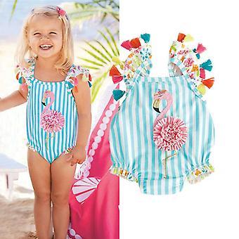 Baby Casual Quasten Flamingo Streifen Anzüge Bikini Set, Badeanzug Beachwear