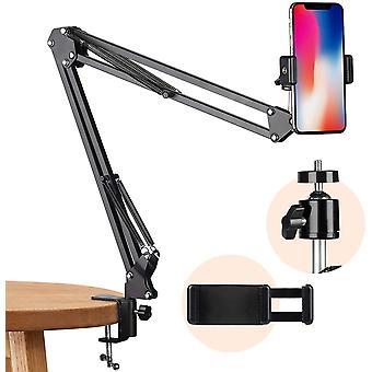 HanFei Handy Gelenkarmhalterung mit Smartphone Klemme und 1/4 Zoll Schraube Langarm Handyhalter