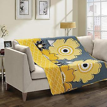 Spura Home Floral Francesca Yellow/Gray Transitional Quilted Throw