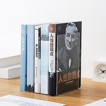 Läpinäkyvä akryylikirjat Bookends Book Support Hyllyteline Työpöytä