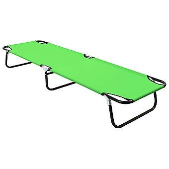 vidaXL Folding sun lounger steel green