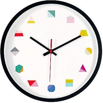 Gerui Wall Clock 12 Inch Silent Non Ticking Geometric Numbers Modern Clock for Living Room Bedroom Kitchen