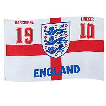 England Flag Gascoigne Lineker Retro 1990 3 Lions Official FA Football Gift
