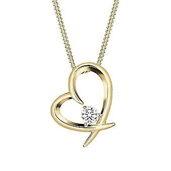 Lanț de femei Elli în argint 925 placat cu pandantiv în formă de inimă, Brilliant Cut