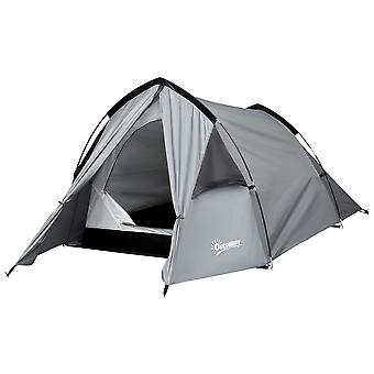 Outsunny 1-2 Man Camping Tunnel Tent  w/ Rain Fly Porch Mesh Window Double Layer Shelter Hiking Home Backpacking Vestibule Lightweight Fishing