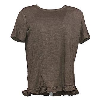 Hvem som helst kvinners topp crinkle strikket t-skjorte med ruffle hem brun a353784
