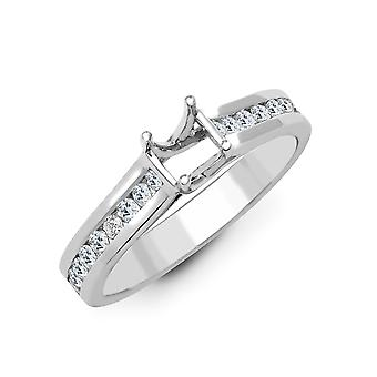 Jewelco London Solid 18ct White Gold Channel Set Round G SI1 0.55ct Diamond Semi Set Mount Engagement Ring 6mm