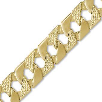 Jewelco لندن الرجال & ق الصلبة 9ct الذهب الأصفر لندن سحلية كبح 22mm قياس اليد تجميعها قلادة سلسلة المدلى بها