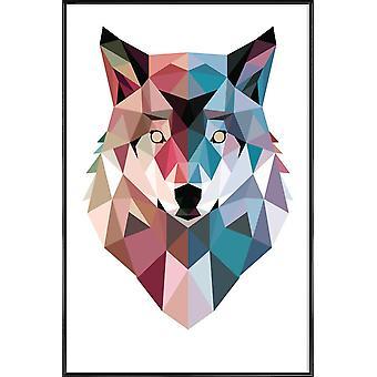 JUNIQE Print - Geo Wolf - Plakat Wilków w kolorze niebieskim i różowym