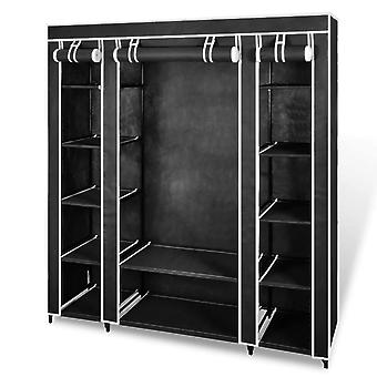 vidaXL stoffen kast met vakken kledingrails 45×150×176 cm Zwart
