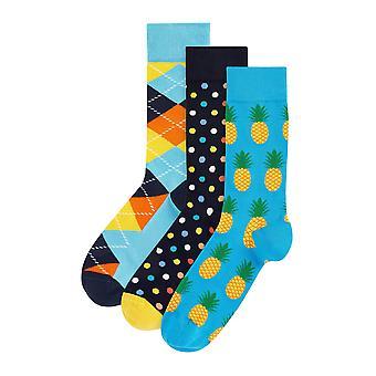 Hs - 3 pk mens colourful novelty dress socks