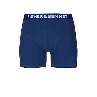 Fisher & Bennet Fisher och Bennet Mens bomull Stretch Denim blå boxershorts