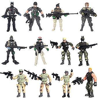 New 12pcs Modern War Military Soldiers Set Assemble Swat Action Figures Playset 10cm ES12819