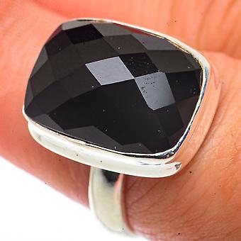Black Onyx Ring Size 8 (925 Sterling Silver)  - Handmade Boho Vintage Jewelry RING66659