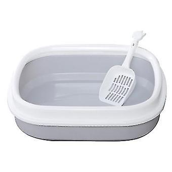 Cat Litter Box Semi-enclosed Cat Toilet Litter Box With cat litter shovel (Gray)