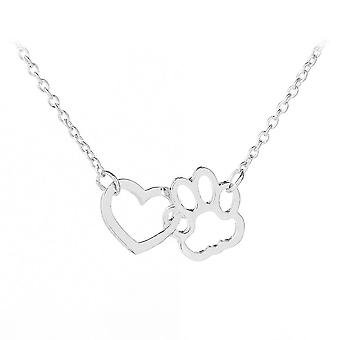 Pendant Heart Dog Paws Stitching Alloy Women Necklace For Ceremony