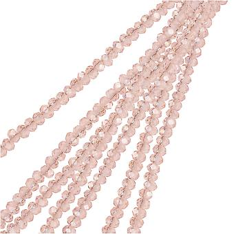 Crystal Beads, Faceted Rondelle 1.5x2.5mm, 2 Strands, Transparent Pink AB