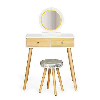 LED lätt toalettbord med pall - 80 x 40 cm - 2 lådor