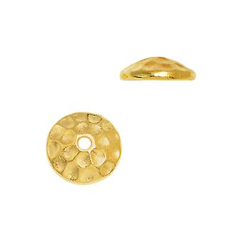 Bead Cap, Hammertone 7.5mm, 2 Pieces, Bright Gold, By TierraCast