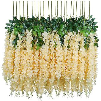 Artificial Fake Wisteria Vine Hanging Silk Flowers Home Wedding Party Decor (24pcs, Strand, White)