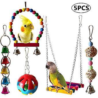 Parrot Toy Bird Chew Toy 5 Pcs Swing Set Colorful Bird Toy Swing Bridge Ladder Hanging Bell Toy Bird Chew Toy