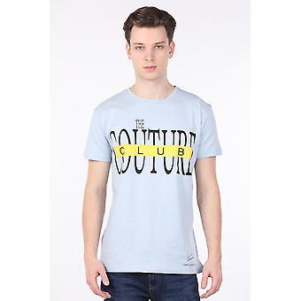 menns lyseblå couture trykt crew neck t-skjorte