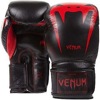 Venum Giant 3.0 Nappa läder krok och ögla boxningshandskar - Black Devil