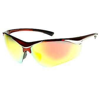 Large TR-90 Shatterproof Semi-Rimless Color Mirror Sports Sunglasses
