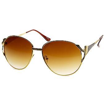 Womens Oversized Metal Color Two-Tone Fashion Sunglasses
