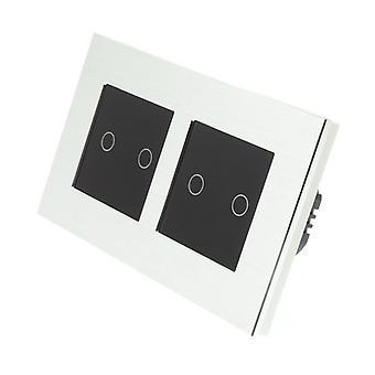 Я LumoS серебряный матовый алюминий Двойная рамка 4 банды 2 способ удаленного сенсорным светодиодные переключения черные вставки