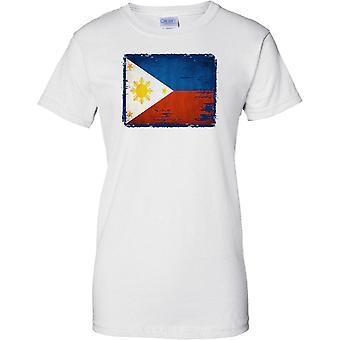 Filippiinit Grunge Grunge vaikutus lippu - naisten T-paita