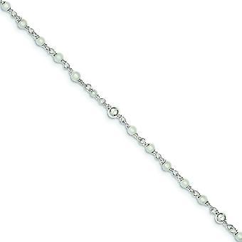 925 Sterling Argento polacco acqua dolce coltivata Caviglia cuore di perla - 10 pollici - anello di primavera