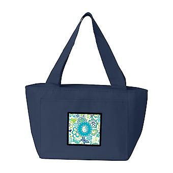 Letter O Flowers and Butterflies Teal Blue Lunch Bag