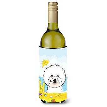 Bichon Frise zomer strand wijn fles drank isolator Hugger