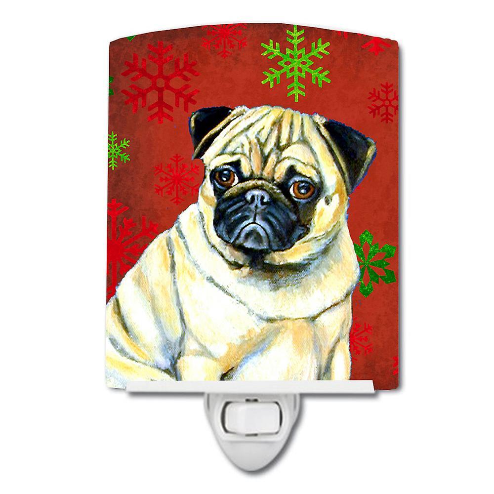 Mops Bilder Weihnachten.Rote Und Grüne Schneeflocken Urlaub Weihnachten Keramik Nachtlicht Mops