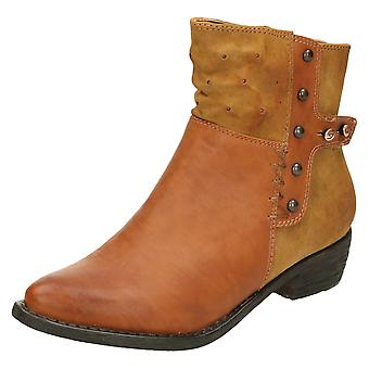 Ladies Spot On Mid Heel Ankle Boot with Metal Stud Design