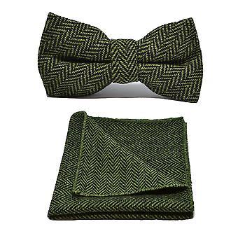 Grüne Gurke & schwarz Fischgrät Fliege & Einstecktuch festlegen