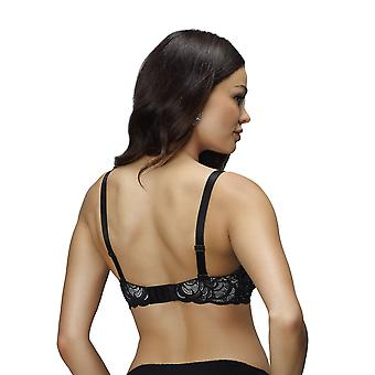 Nessa B2 naisten vanilja II Musta aihe brodeerattu pehmustettu Underwired Push Up rintaliivit