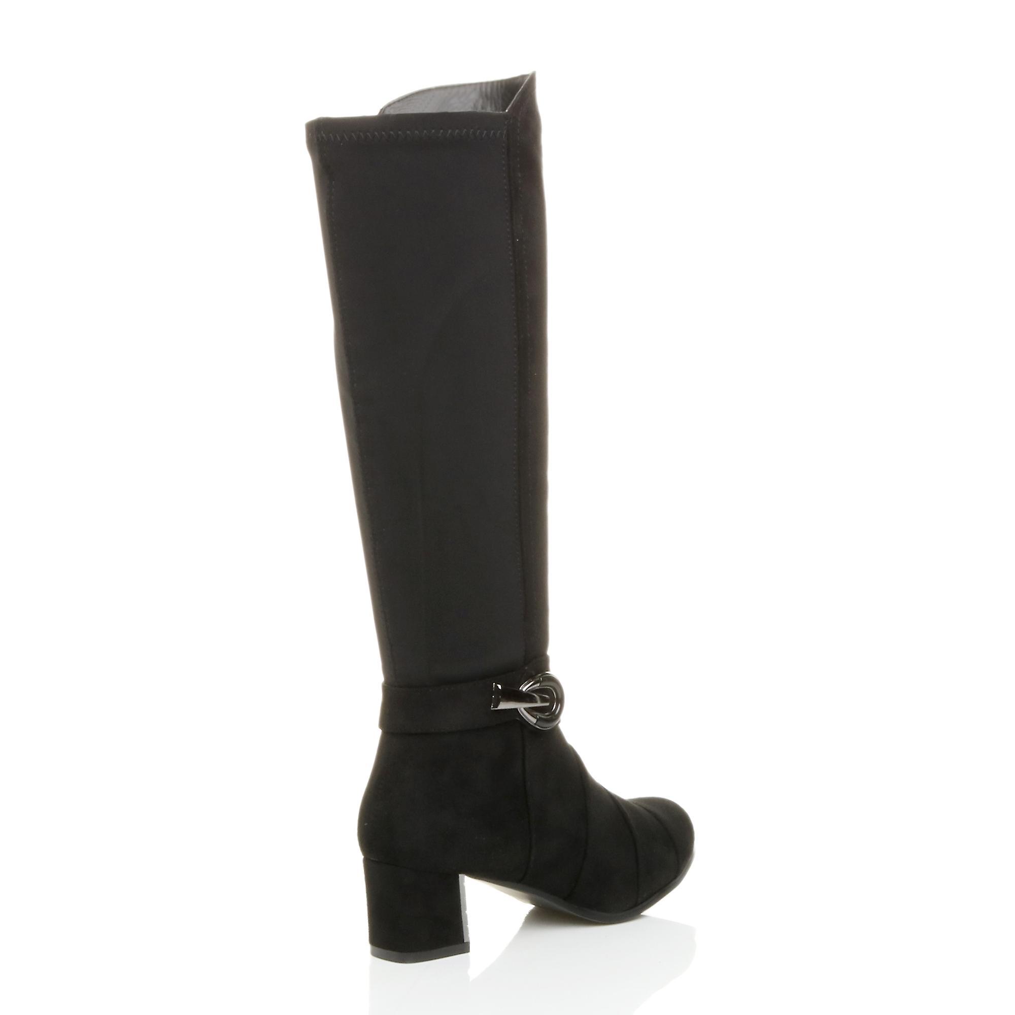 Ajvani dame midt blussede blok hæl zip spænde strække lagdelt læggen støvler
