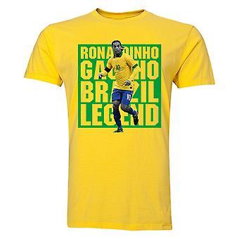 Ronaldinho Brasilian pelaaja t-paita (keltainen) - lapset