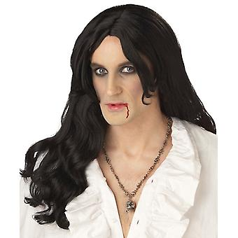 Old World Vampire Gothic Renaissance Medieval Black Halloween Men Costume Wig