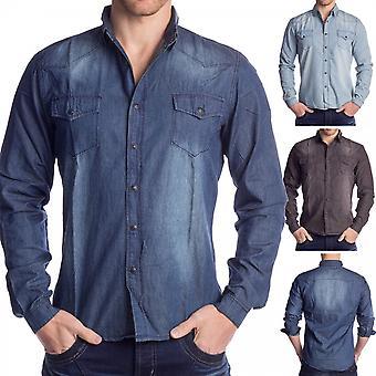 Mens denim overhemd denim overhemd lange mouwen casual shirt jeans shell 100% katoen